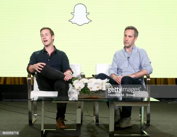 VP of Content Snap Inc Nick Bell and Head of Original Content Snap Inc Sean Mills speak onstage during the Snap Inc portion of the 2018 Winter...