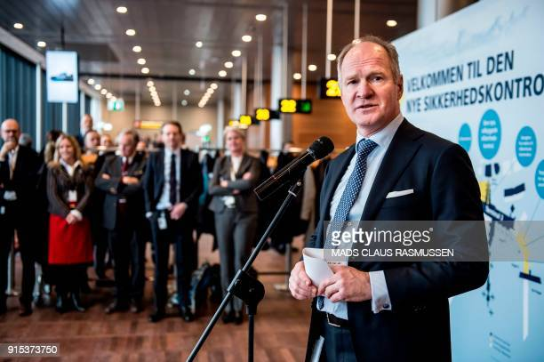 CEO of Copenhagen Airport Thomas Woldbye speaks during the opening ceremony of a new and extended zone of security control at Copenhagen Airport on...