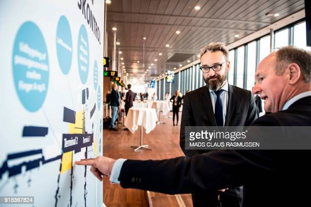 CEO of Copenhagen Airport Thomas Woldbye talks with Danish minister of transportation Ole Birk Olesen during the opening ceremony of a new and...