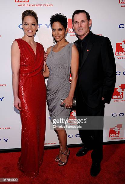 CEO of Coty Inc Bernd Beetz actress Halle Berry and EVP of DKMS Americas Katharina Harf attend DKMS' 4th Annual Gala Linked Against Leukemia at...