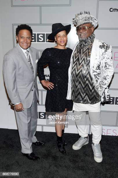 SESAC VP of Creative Services James Leach Carlon ThompsonClinton and Singer/Songwriter George Clinton attends the 2017 SESAC Pop Awards on April 13...