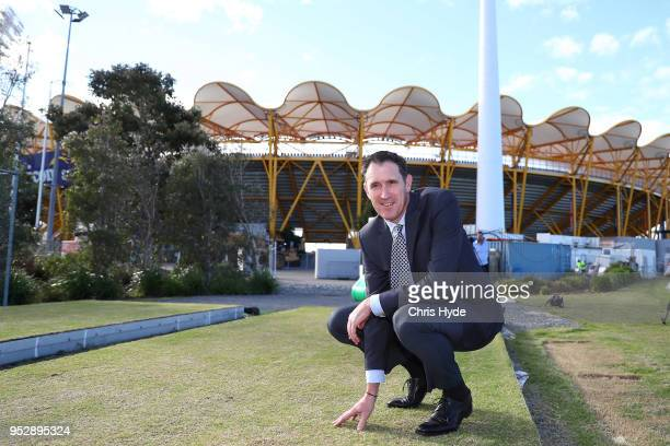 CEO of Cricket Australia James Sutherland inspects the drop in pitch outside Metricon while announcing the 2018/19 international cricket schedule at...