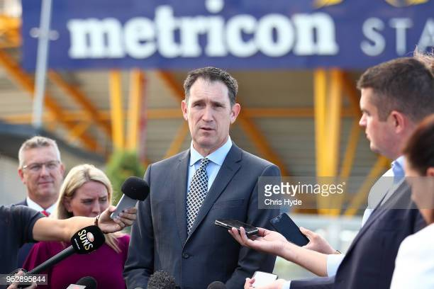CEO of Cricket Australia James Sutherland talks to the media during the 2018/19 international cricket schedule announcement at Metricon Stadium on...