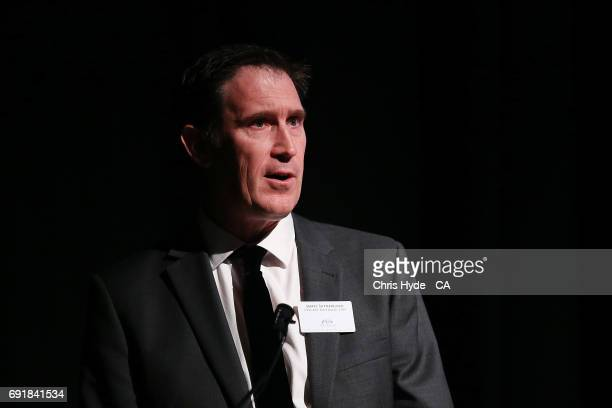 CEO of Cricket Australia James Sutherland speaks during the Women's Cricket World Cup Celebration at Queensland Gallery of Modern Art on June 3 2017...