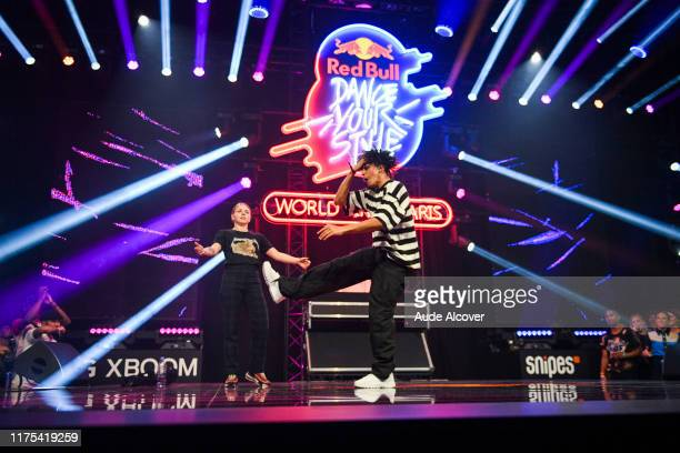 JAJA of Czech Republic and SHINSHAN of Netherlands during the Red Bull Dance Your Style Finals at Grande Halle de La Villette on October 12 2019 in...