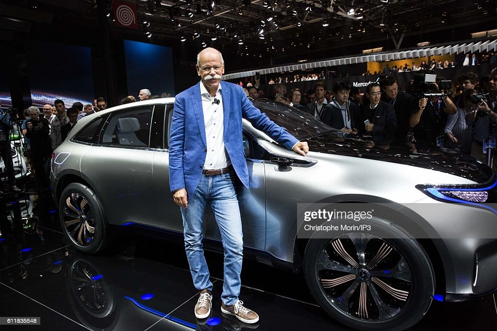 CEO of Daimler and Head of Mercedes Benz Dieter Zetsche presents their latest Mercedes EQ concept car during the press preview of the Paris Motor Show at Paris Expo Porte de Versailles on September 29, 2016 in Paris, France. From 1 to 16 October 2016, the 'Mondial de l'automobile' presents to the public the new cars of the largest automobile brands in the world.