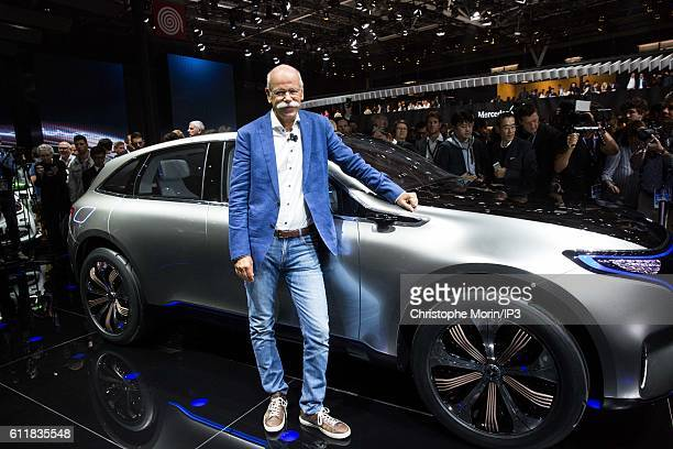 CEO of Daimler and Head of Mercedes Benz Dieter Zetsche presents their latest Mercedes EQ concept car during the press preview of the Paris Motor...