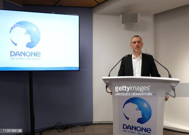 CEO of Danone Emmanuel Faber delivers a speech to present the group's annual results on February 19 2019 in Paris