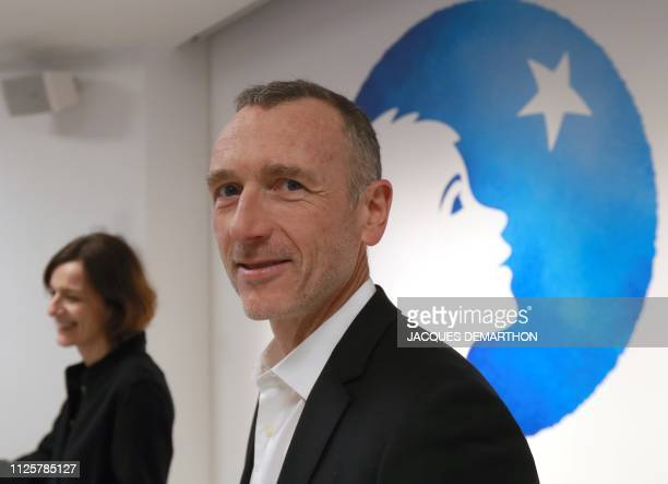 CEO of Danone Emmanuel Faber poses following the presentation of the group's annual results on February 19 2019 in Paris