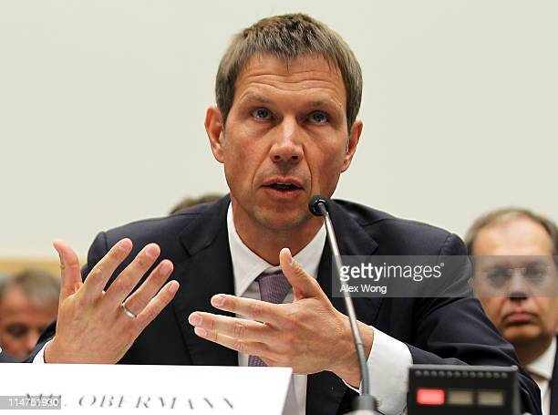 CEO of Deutsche Telekom AG Rene Obermann testifies during a hearing before the Intellectual Property Competition and the Internet Subcommittee of the...