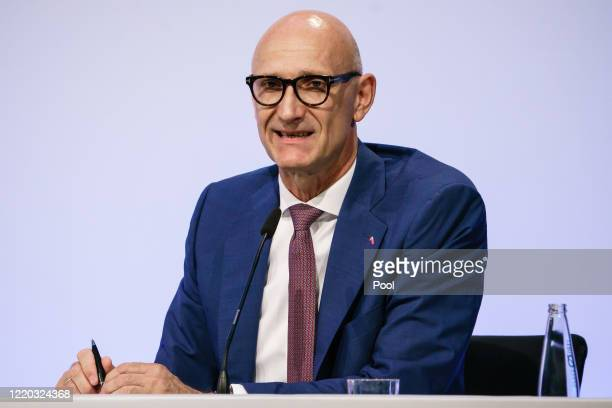 CEO of Deutsche Telekom AG Timotheus Hoettges speaks during the launch of Germany's governmentdeveloped CoronaWarnApp tracing app for Covid19...