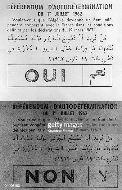 Of different color, the two bulletins for the referendum on self-determination in Algeria. All city councils and town halls of France and Algeria...