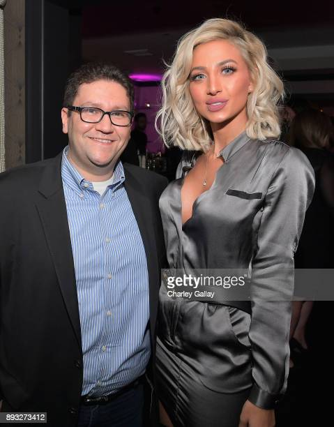 NYX VP of Digital Mehdi Mehdi and Model Roz at the NYX Professional Makeup and Samsung VR Launch Party at Beauty Essex on December 14 2017 in Los...