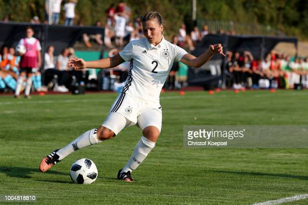 of Dina Orschmann of Germany runs with the ball during the friendly match between Germany U20 Girl's and the Netherlands at HubertHoubenStadion on...