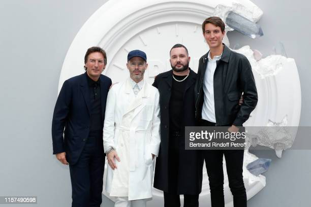 CEO of Dior Pietro Beccari Decorator of the event Daniel Arsham Stylist Kim Jones and CEO of Rimowa Alexandre Arnault pose after the Dior Homme...