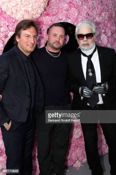 CEO of Dior Pietro Beccari Stylist Kim Jones and Karl Lagerfeld pose after the Dior Homme Menswear Spring/Summer 2019 show as part of Paris Fashion...