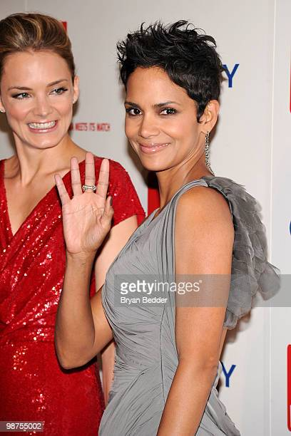 EVP of DKMS Americas Katharina Harf and actress Halle Berry attends DKMS' 4th Annual Gala Linked Against Leukemia at Cipriani 42nd Street on April 29...