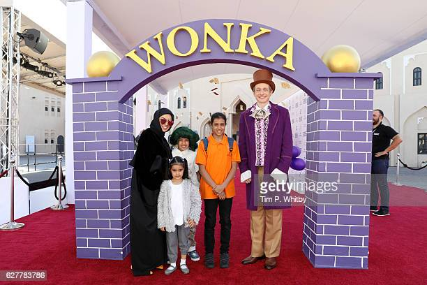 CEO of Doha Film Institute Fatma Al Remaihi and her family attend the 'Willy Wonka' childrens premiere during the Ajyal Youth Film Festival on...