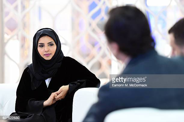 CEO of Doha Film Institute Fatma Al Remaihi briefs the hosted media during the Ajyal Youth Film Festival on December 1 2016 in Doha Qatar