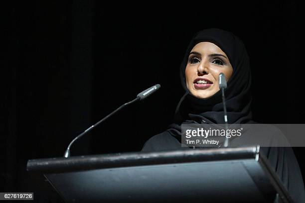 CEO of Doha Film Institute Fatma Al Remaihi speaks at the premiere of 'Made in Qatar' during the Ajyal Youth Film Festival on December 1 2016 in Doha...