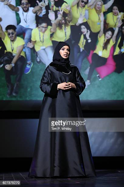CEO of Doha Film Institute Fatma Al Remaihi speaks on stage during the opening ceremony and screening of 'The Eagle Huntress' at the Ajyal Youth Film...