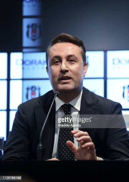 CEO of Dorak Holding Ahmet Serdar Korukcu speaks during a meeting held with Chairman of Besiktas Fikret Orman on the presentation of a cooperation...