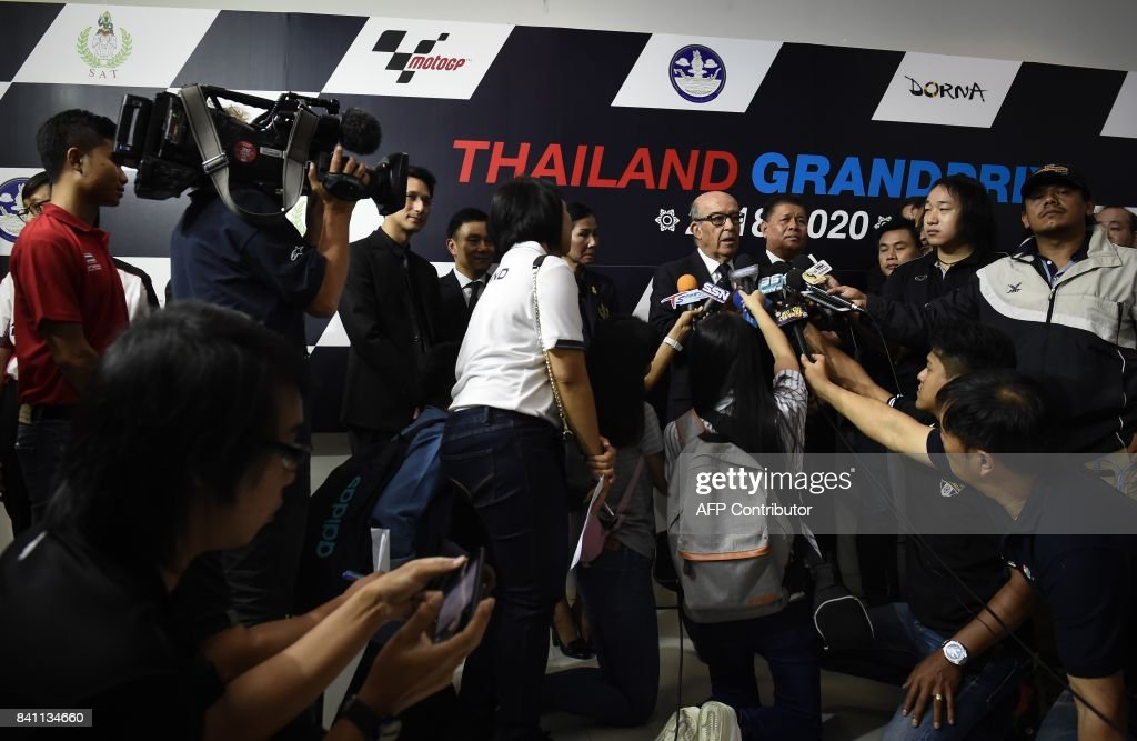 CEO of Dorna Sport Carmelo Ezpeleta speaks to the media after signing an agreement to allow Thailand to host a MotoGP race from 2018 until 2020, at the Sports Authority of Thailand in Bangkok on August 31, 2017. MotoGP will make its Thai debut in October next year it was confirmed Thursday, with the race to be hosted by the provincial city of Buriram for three years. /