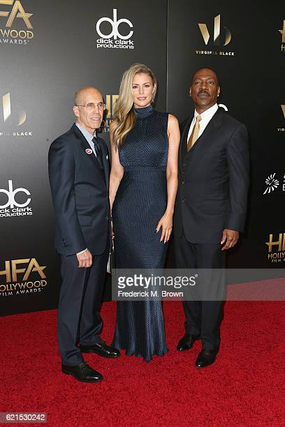 CEO of DreamWorks Animation Jeffrey Katzenberg and actors Paige Butcher and Eddie Murphy attend the 20th Annual Hollywood Film Awards on November 6...