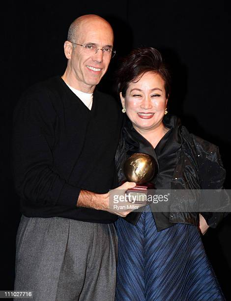 CEO of DreamWorks Animation Jeffrey Katzenberg and CJ Group vice chairman Miky Lee attend CinemaCon 2011 at The Colosseum of Caesars Palace on March...