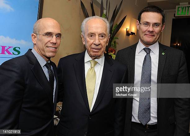 CEO of DreamWorks Animation Jeffrey Katzenberg President of Israel Shimon Peres and Consul General of Israel David Siegel attend an event with...