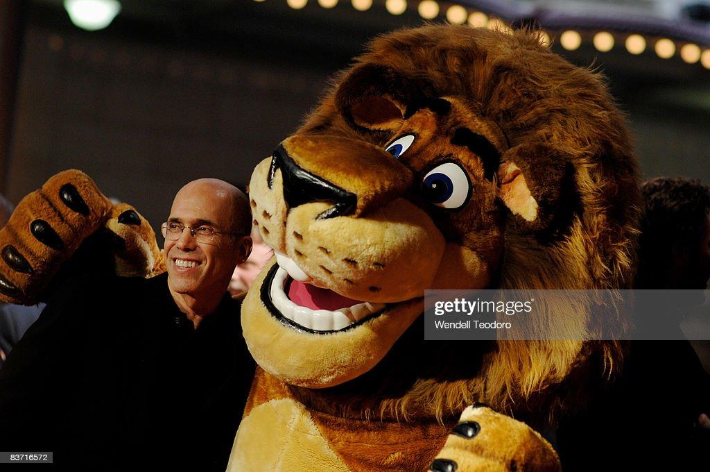 CEO of Dreamworks Jeffrey Katzenberg and Alex the Lion