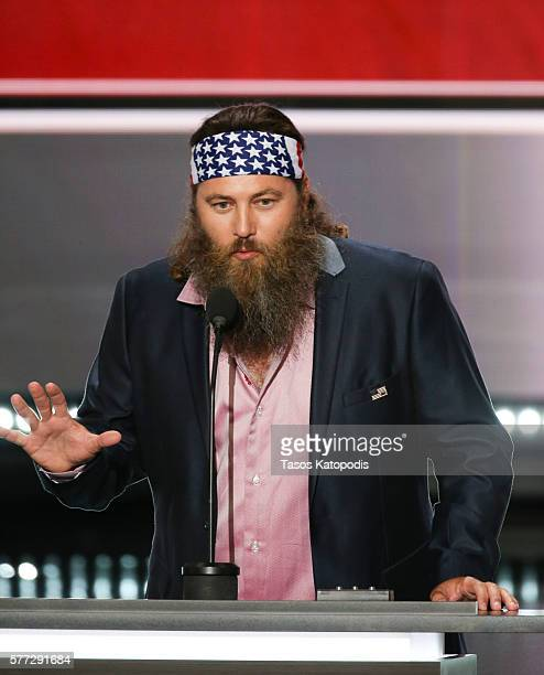 CEO of Duck Commander and Star of Duck Dynasty Willie Robertson speaks during the first day of the Republican National Convention on July 18 2016 at...