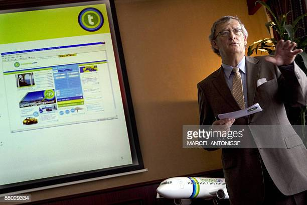 CEO of Dutch airline company Transavia Tjero Zomer holds a press conference concerning financial results 2008/2009 for the company in Transavia's...