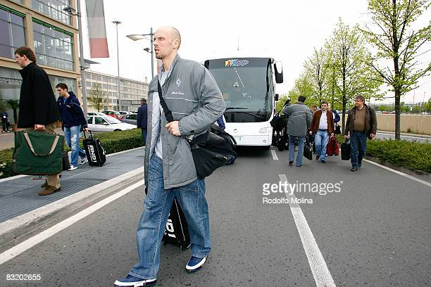 of Dynamo Moscow Dmitry Domani arriving to hotel Le Meridien in the ULEB Cup Final 8 will play at the Palavela on April 9 2008 in Turin Italy