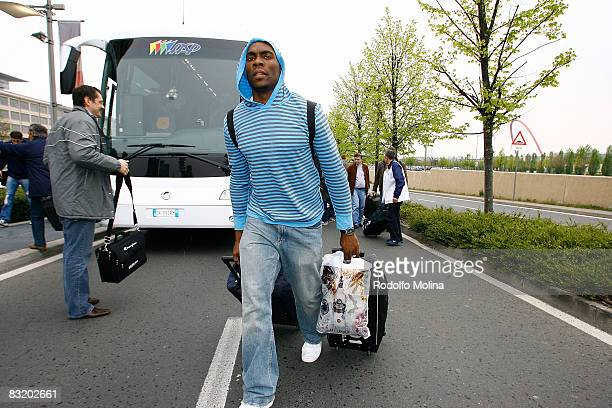 of Dynamo Moscow Henry Domercant arriving to hotel Le Meridien in the ULEB Cup Final 8 will play at the Palavela on April 9 2008 in Turin Italy