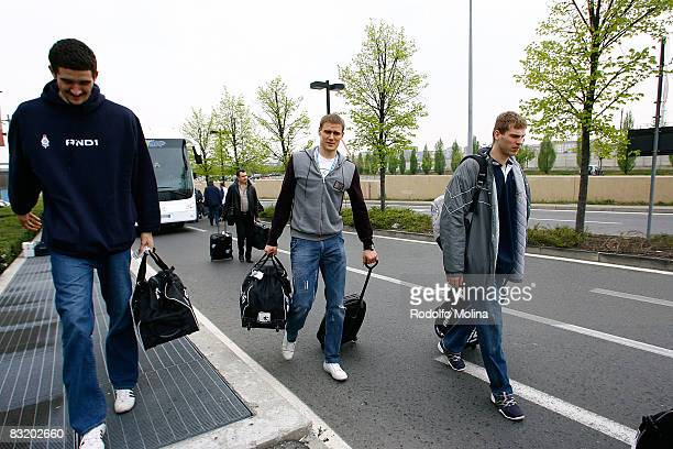 of Dynamo Moscow Nenad Misanovic #23 Robertas Javtokas and Sergey Monya arriving to hotel Le Meridien in the ULEB Cup Final 8 will play at the...