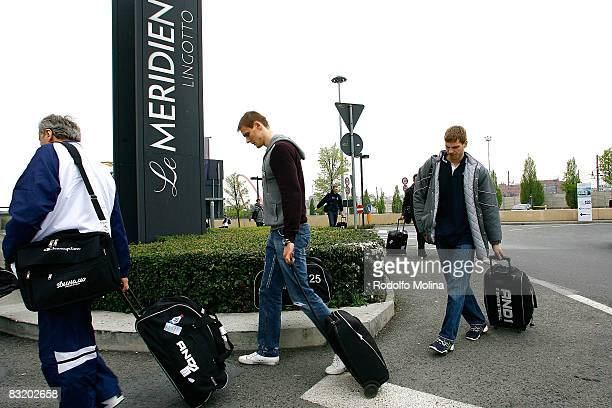 of Dynamo Moscow Robertas Javtokas arriving to hotel Le Meridien in the ULEB Cup Final 8 will play at the Palavela on April 9 2008 in Turin Italy