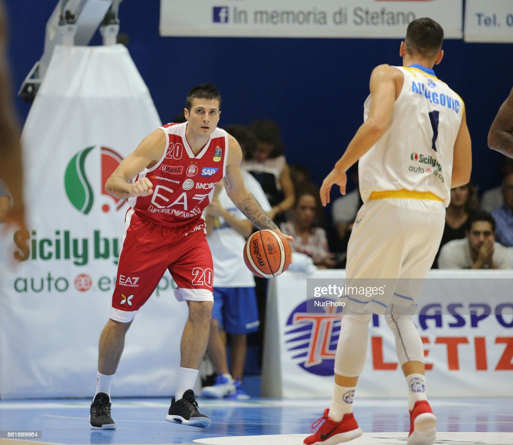 CINCIARINI of EA7 Armani during the LBA Serie A Postemobile Match Between Betaland Capo D'Orlando and EA7 Armani Milano on October 15, 2017 at Palasikeliarchivi in Capo D'orlando, Italy.