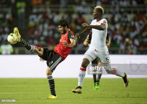 MOSAAD of Egypt and ARISTIDE BANCE of Burkina Faso during the semifinal match between Burkina Faso and Egypt at Stade de L'Amitie on February 01 2017...