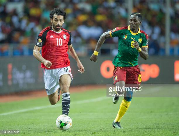 SALAH of Egypt and OYONGO BITOLO AMBROISE of Cameroon during the CAN 2017 FINAL between Cameroon and Egypt at Stade de L'Amitie on February 05 2017...