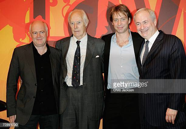 CEO of EMI Tony Wadsworth Producer Sir George Martin and his son Giles and Paul Gambaccini are seen at the Launch of the New Beatles Album 'Love' at...