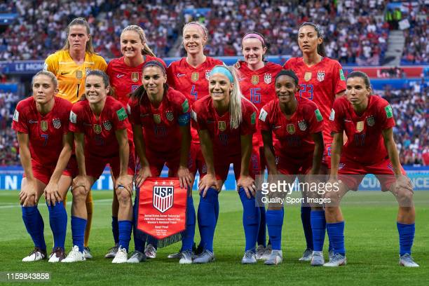 XXX of England battle for the ball with XXX of USA during the 2019 FIFA Women's World Cup France Semi Final match between England and USA at Stade de...