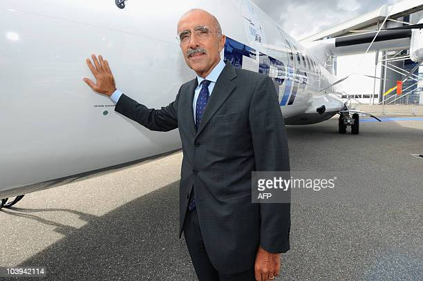 Of European ATR regional aircraft manufacturer, Filippo Bagnato poses next to an ATR72-500 during its delivery to Brazilian aircraft company TRIP on...