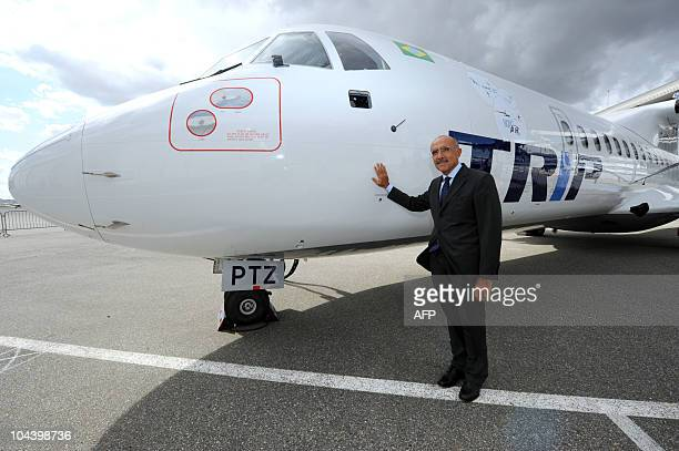 Of European ATR regional aircraft manufacturer, Filippo Bagnato poses in front of an ATR72-500 during its delivery to Brazilian aircraft company TRIP...