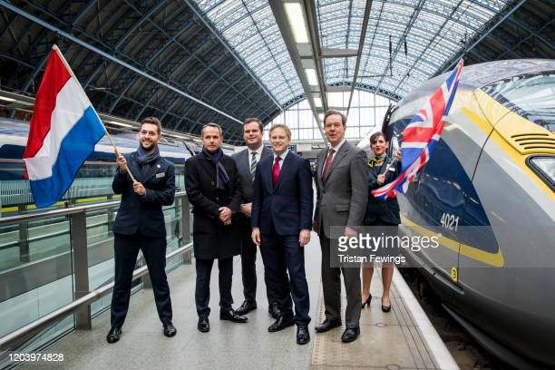 CEO of Eurostar Mike Cooper Immigration Minister Kevin Foster Secretary of State for Transport Grant Shapps and Dutch Ambassador Simon Smits attend a...