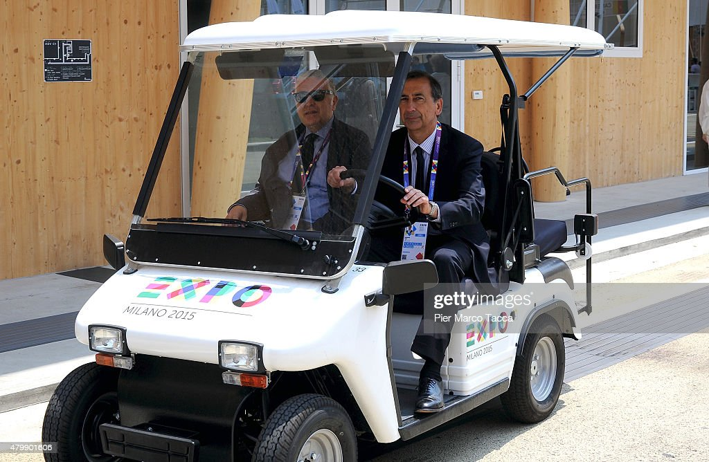 CEO of Expo 2015 Giuseppe Sala driving an electric car during the Expo 2015 on July, 2015 in Milan, Italy.