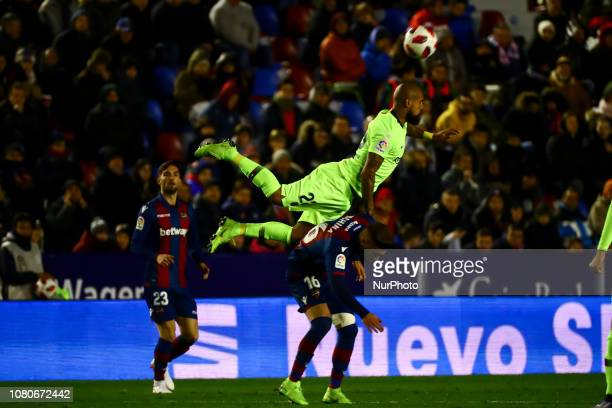 VIDAL of FC Barcelona and Levante's defender Ruben Rochina during spanish King Cup match between Levante UD v FC Barcelona at Ciutat de Valencia...