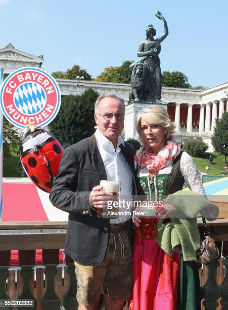 CEO of FC Bayern Muenchen KarlHeinz Rummenigge and his wife Martina attend the Oktoberfest beer festival at Kaefer Wiesenschaenke tent at...