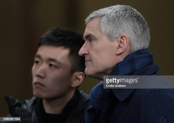 CEO of FC Internazionale Alessandro Antonello and FC Internazionale president Steven Zhang look on during the Serie A match between FC Internazionale...