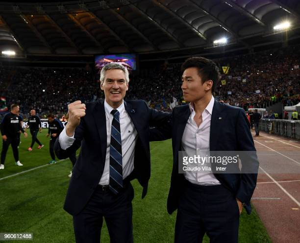 CEO of FC Internazionale Alessandro Antonello and FC Internazionale Milano board member Steven Zhang celebrate the victory and the qualification for...